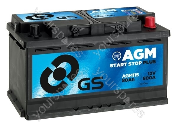 agm start stop plus battery 12v 80ah 800a agm115 by gs batteries. Black Bedroom Furniture Sets. Home Design Ideas