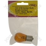 BA15S Amber Bulb - 12V - 21W