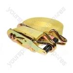 Ratchet Strap & Hooks - 38mm x 6m (2500kg) - L 6m x W 38mm