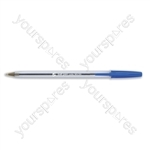 Clear Ball Point Pens - Blue - Pack of 50