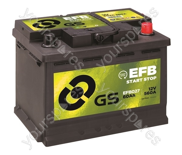 efb start stop battery 12v 60ah 560a efb027 by gs batteries. Black Bedroom Furniture Sets. Home Design Ideas
