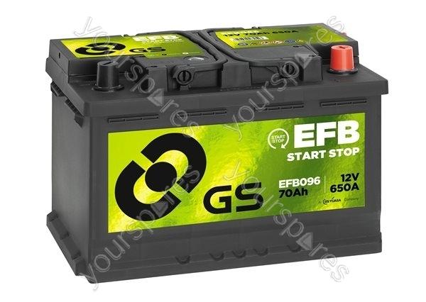 efb start stop battery 12v 70ah 650a efb096 by gs. Black Bedroom Furniture Sets. Home Design Ideas