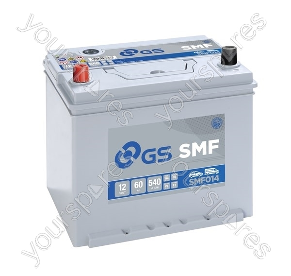 smf conventional battery 12v 60ah 540cca smf014 by gs. Black Bedroom Furniture Sets. Home Design Ideas