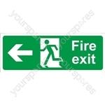 Fire Exit Arrow Left - Rigid Polypropylene - 150mm x 400mm