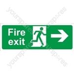 Fire Exit Arrow Right - Rigid Polypropylene - 150mm x 400mm