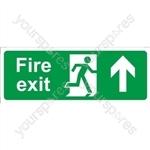 Fire Exit Arrow Up - Rigid Polypropylene - 150mm x 400mm