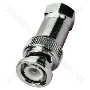 F Connector - Adapter Screw-on Fplug/bnc Plug