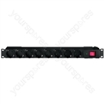 Mains Distributor, 1U - Rack-mount Power Strip