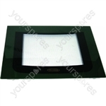 Indesit Main Oven Outer Door Glass w/ Green Detail