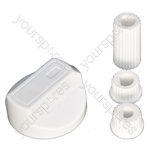 Universal Cooker Oven Grill Control Knob And Adaptors White Fits All Gas Electric