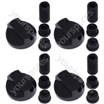 Nardi Universal Cooker Oven Grill Control Knobs And Adaptors Black Fits All Gas Electric x 4