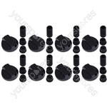 Kenwood Universal Cooker Oven Grill Control Knobs And Adaptors Black Fits All Gas Electric x 8