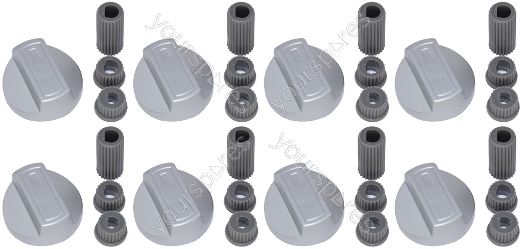 8 X Flavel Universal Cooker//Oven//Grill Control Knob And Adaptors Silver