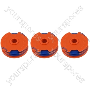 Qualcast GGT4401 3 x Spool & Line For Strimmers 1.5 mm x 2 mm x 5 metre