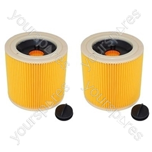Karcher Wet and Dry Corrugated Vacuum Cleaner Filter x 2