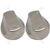 Hot-Ari ix Control Switch Knobs for Hotpoint Ariston Indesit Oven Cooker Hob Silver Pack of 2
